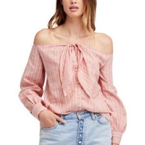 FREE PEOPLE Hello There Beautiful Tie Front Top XS
